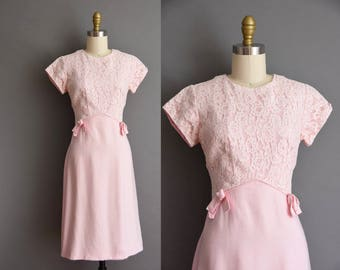 vintage 1950s dress. Cotton Candy Pink cotton lace vintage 1950s  dress