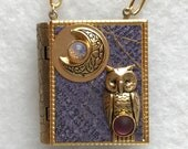 Book Necklace-Owl jewelry-Moon jewelry-purple-gold-miniature book-antique style-book locket