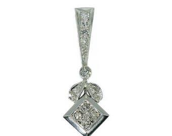 ON SALE Vintage pendant diamond and platinum c.1950