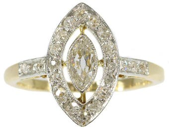 Marquise diamond engagement ring 18k yellow gold old European cut diamonds .64ct antique ring