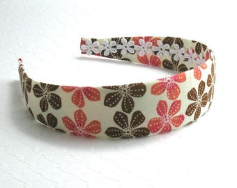 Headband ~ Coral Brown Floral Adult Womens Girls Floral Fabric Covered Hard Plastic Headband