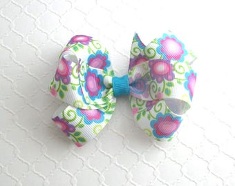 Easter Hair Bow ~ Girls, Toddlers Pinwheel Boutique Hair Bow Clip