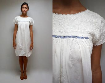 Mexican Wedding Dress //  White Cotton Dress //  Mexican Embroidered Dress  //  THE OAXACAN