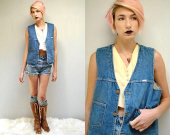 Denim Vest  //  Sherpa Vest  // Wrangler Denim Vest  // Vintage Workwear // Work Vest  // Wrangler Vest  //  Western Vest // DEER and CACTUS