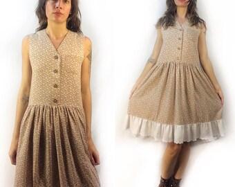 Vintage floral button front dress // small medium // neutral boho hippie grunge prairie peasant festival style