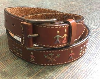 Vintage folk embroidered stitched brown leather belt