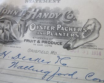 antique ephemera - John T. Handy Co OYSTER PACKERS and Planters - receipt, statement advertising ephemera - circa 1914