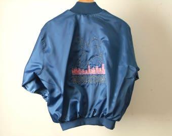 vintage HOUSTON, texas satin 80s LOIS embroidered vintage jacket size medium
