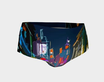 City Nights Print Mini Shorts Bikini Bottoms Size XS S M L XL Bold Design Pattern Active Wear Gym Swim Hot Pants Yoga Dance Volleyball Beach