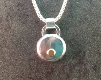 Sterling and 14kt Gold Nugget Metalwork Necklace Pendant