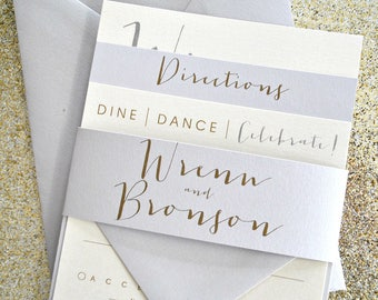 Bronson Wedding Invitation Suite with Belly Band - light silver, Champagne Gold, Ivory (colors/text customizable)