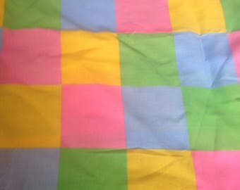 Vintage Check Pattern Fabric Checkerboard Easter Pastels Pink blue green yellow