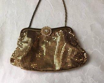 Vintage WHITING & DAVIS Gold Metal Mesh Purse w/ Rhinestone Clasp