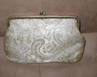 Vintage Silver on Gold Brocade Evening Purse