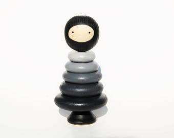 Black Ninja Wooden Stacker Toy Doll - Black and White Gray -Unique Gift - Waldorf Style - Educational Toy