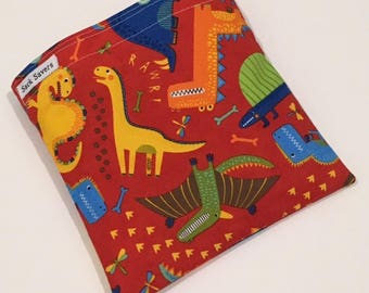 Reusable Sandwich And Or Snack Bag Red Dinosaur Sandwich Snack Bag