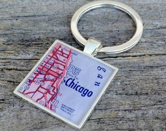 chicago keychain | chicago illinois gift | 1957 vintage map keychain