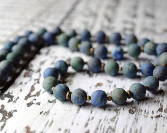 Matte Malachite Lapis Necklace Boho Blue Necklace Bohemian Stone Necklace Beaded Hematite Gemstone Necklace Antique Copper