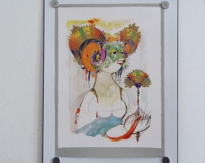 Bjorn Wiinblad print poster Iris 1960's