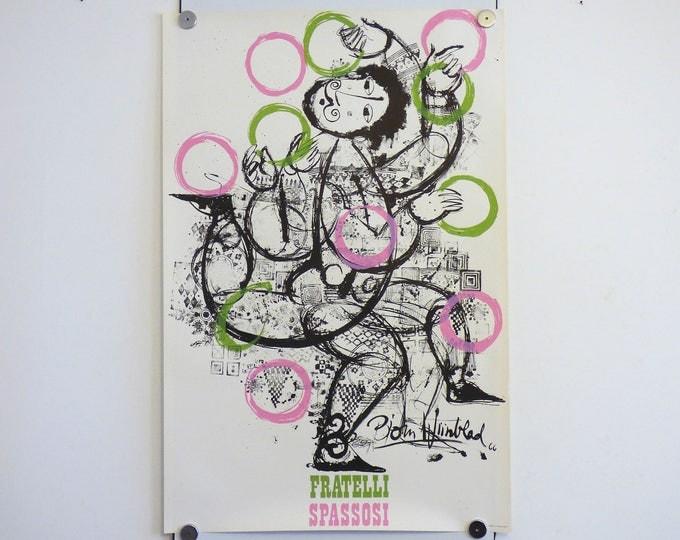 Bjorn Wiinblad print poster Fratelli Spassosi 1966 Danish modernist print