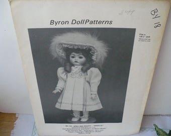Sewing Pattern Doll DIY Gift, Pattern Gift Doll Clothes, Byron Giselle Doll Pattern, Doll Dress Pattern, DIY Doll Dress, 16 Half inch