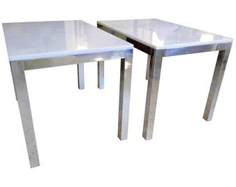 End Tables, Matching Pair, Milo Baughman Style, Chrome Frames, Marble Tops