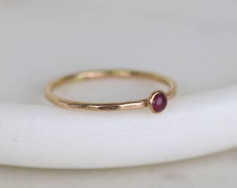 Tiny ruby ring gold, July birthstone ring, gold stacking ring, petite gemstone ring, July birthday gift - Juliet