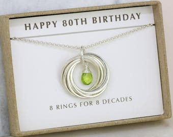 80th birthday gift, August birthstone jewelry, 80th birthday necklace, birthday gift grandmother - Lilia