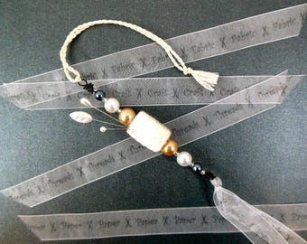 Scissors Fob, Hand Needle Felt Beads, White, Gold and Silver, Pearls, OOAK, Pincushion