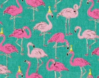 The Animals Flamingos from Cosmo Textile Co. - Full or Half Yard of Japanese fabric 80 percent cotton and 20 percent linen