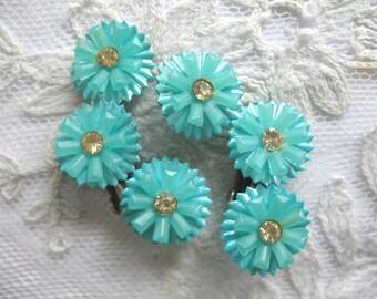 Vintage Soft Plastic & Rhinestone Earrings ~ Turquoise Flowers ~ Clip On