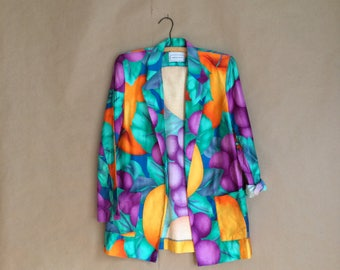 SALE! vintage 1980's 80's color block jacket / womens blazer / cotton jacket /exaggerated fruit / patch pocket / light weight jacket