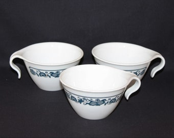 Three Corelle Old Town Blue Hook Handle Coffee Cups