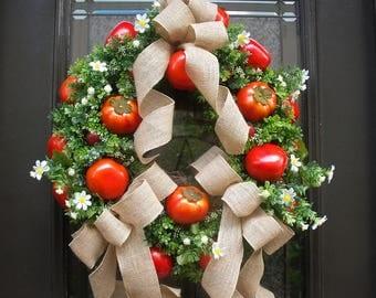 Tomato Wreath, Summer Wreath, Boxwood Wreath, Kitchen Wreath, Tomato Door Wreath, Kitchen Decor, Tomato Wall Decor