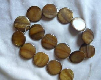Beads, Mother of Pearl, 25mm Flat Round Coin , Light Brown, 15 inch strand. Total of 16 beads on strand.