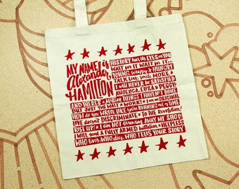 Alexander Hamilton Tote Bag // Hamilton Quote Bag // Musical Theater Tote //