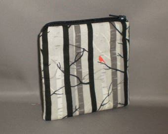 Coin Purse - Gift Card Holder - Card Case -Small Padded Zippered Pouch - Mini Wallet - Birch Trees - Red Bird