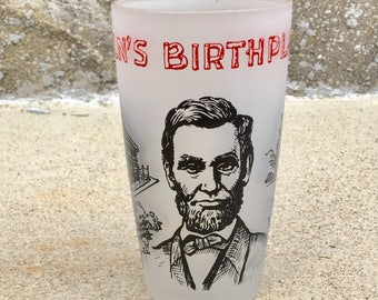 Vintage Abe Lincoln Glass Tumbler