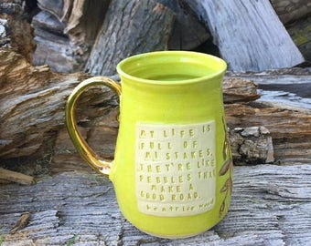 Summer Vacation Sale Chartreuse and Gold Mug-Beatrice Wood Quote -Handmade by Daisy Friesen