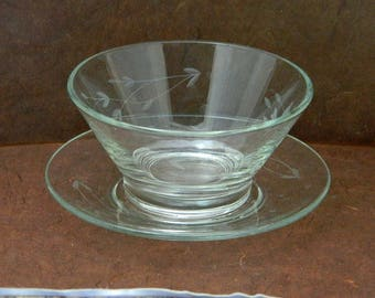 Princess House Heritage Mayonnaise Bowl with Underplate