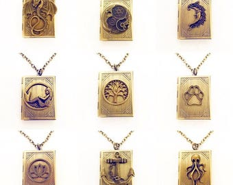 Pick Your Book Locket Necklace / Book Lovers Gift Renaissance Faire Costume Pendant Dragon Lotus Moon Octopus Mermaid Dog Paw Tree Anchor