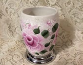 Tammye's Custom Ordered Hand Painted Pink Rose Victorian Cottage Chic Ceramic Vase and Soap Dispenser Set