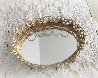 Gold Filigree Vanity Tray Vintage Mirror Lipstick Holder Hollywood Regency Decor Boho Bedroom