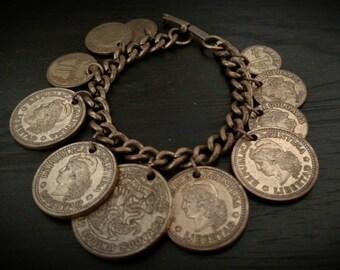 Vintage Bronze Brass  South American 11 Coin Charm Bracelet  Argentina 1957-59 Columbian 1967