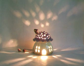 Night Light/Fairy House - Purple Roof, Mushroom with Starry Sky and a Chimney - Hand Painted - Ready to Ship - Child Lamp / Nursery Light