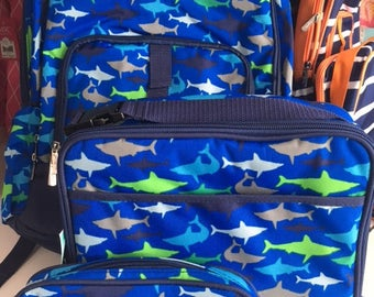 Personalized backpack lunch box pencil case set/boys blue shark book bag set/blue green white gray shark/embroidered boy backpack set