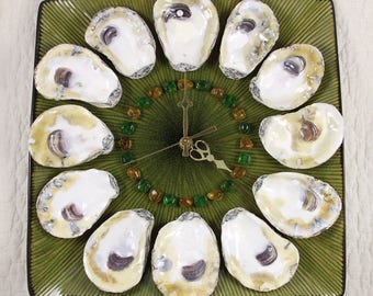 Dozen Oysters on the Half Shell Wall Clock - green and gold