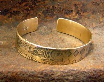 Belly Dance Cuff Bracelet, Henna Motifs in Brass