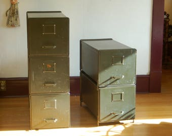 The General Fireproofing Co 1940u0027s Industrial Metal Transfer File Cabinets  ~ Army Green Stacking File Cabinets