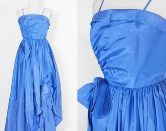 40% OFF SALE Vintage 1960's Blue Taffeta Cocktail Party Prom Dress / Ballroom Cupcake Romantic Ruffled Dress Size Small
